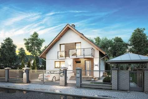 Projekt domu z poddaszem KONKRET PLUS - wizualizacja 2