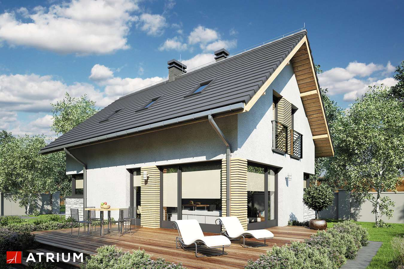 Projekty domów - Projekt domu z poddaszem FELIX III - wizualizacja 1 - wersja lustrzana