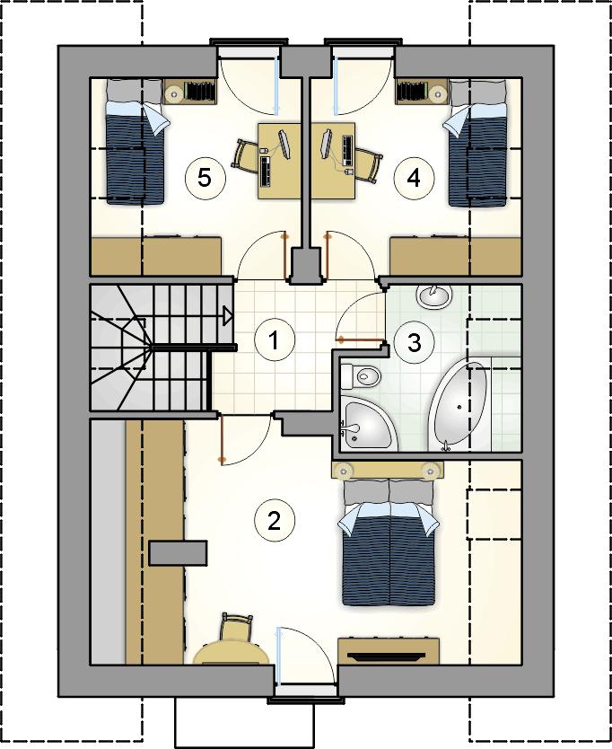 Rzut poddasza - projekt Felix III - wersja lustrzana