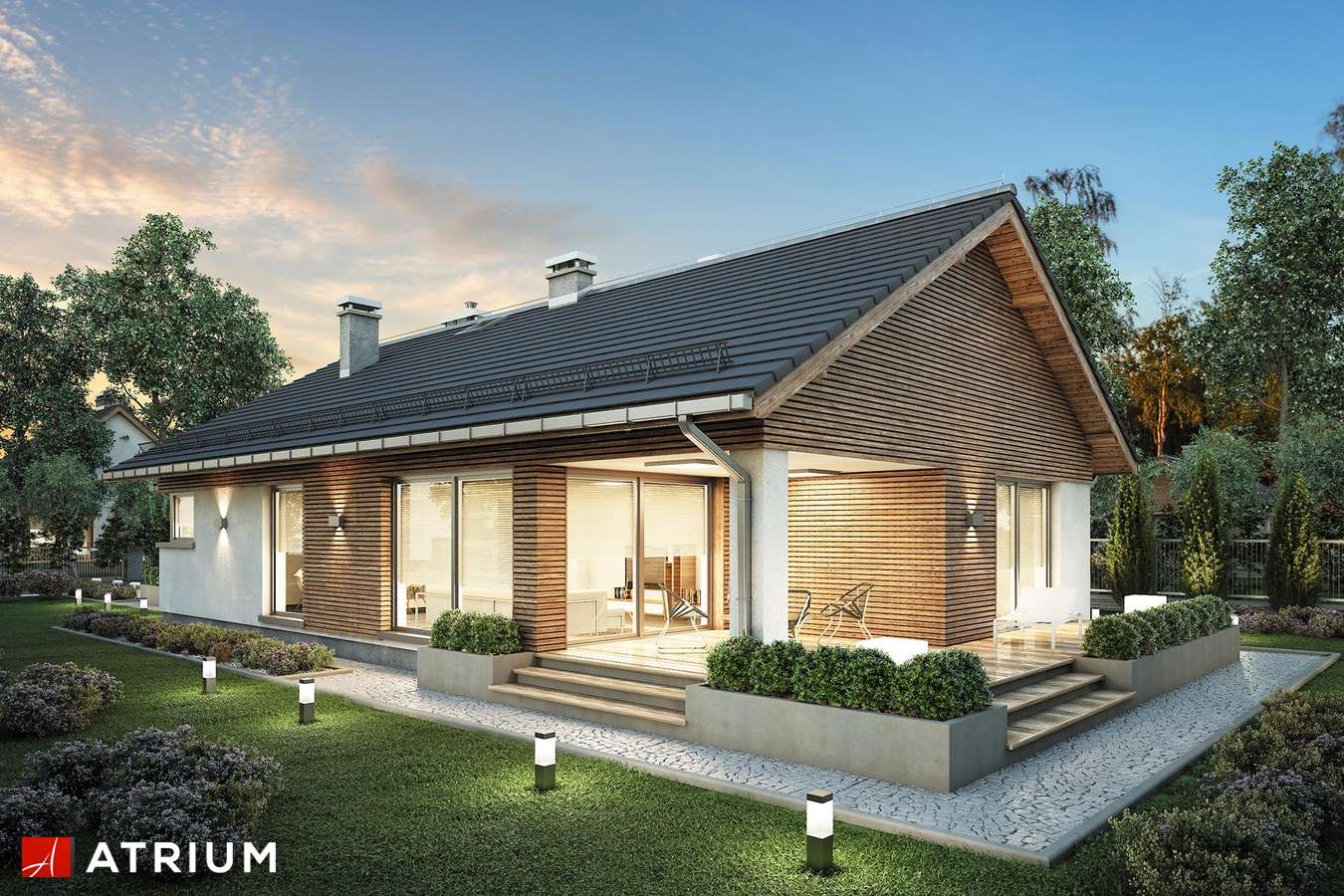 Projekty domów - Projekt domu parterowego PELIKAN SLIM - wizualizacja 2 - wersja lustrzana