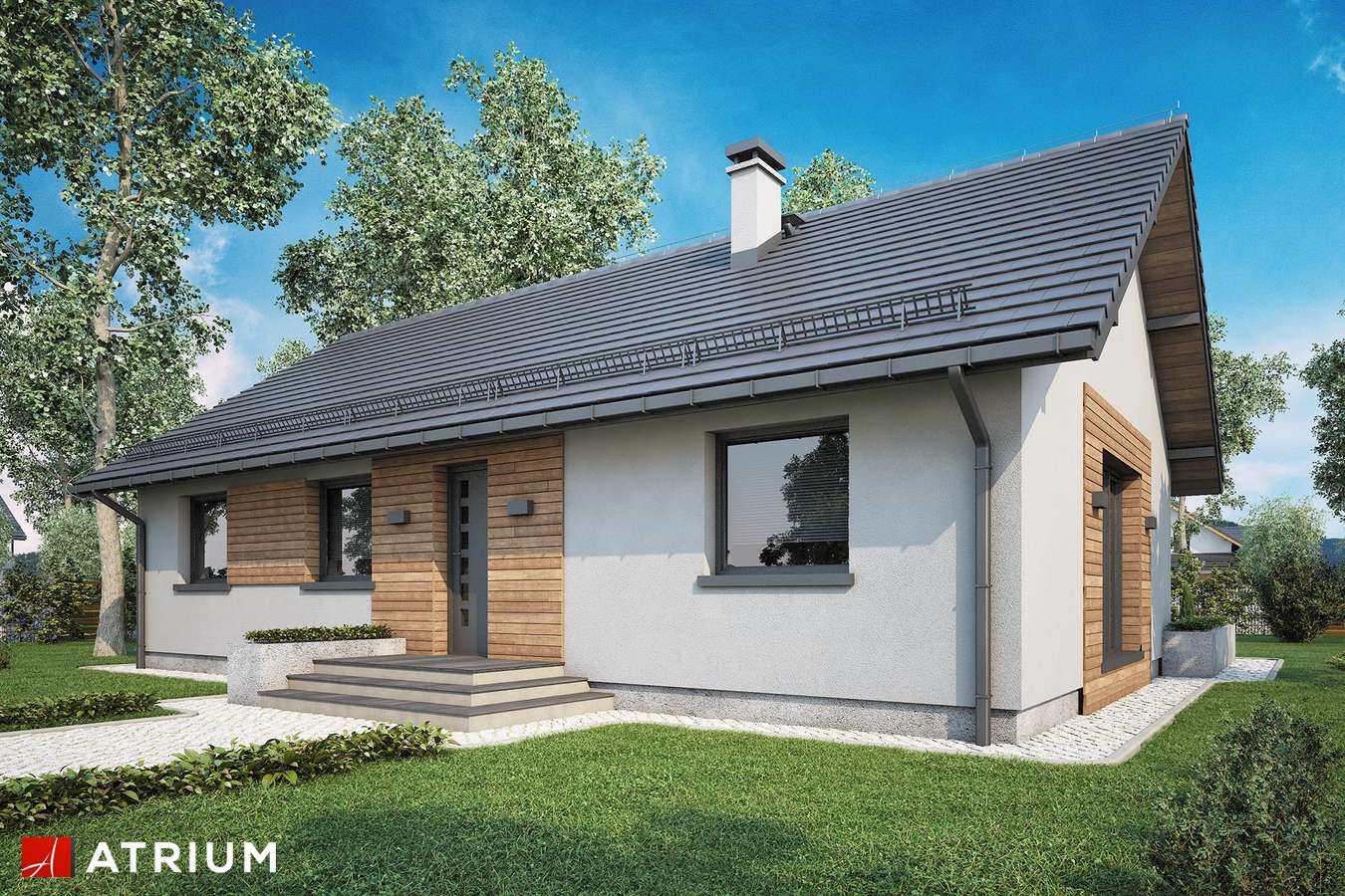 Projekty domów - Projekt domu parterowego AURORA II SZ - wizualizacja 1