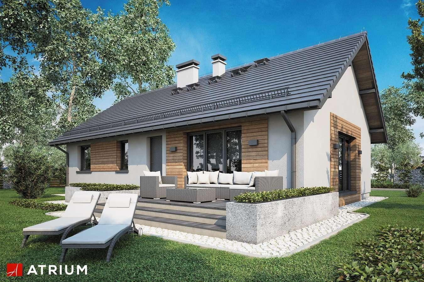 Projekty domów - Projekt domu parterowego AURORA II SZ - wizualizacja 2 - wersja lustrzana