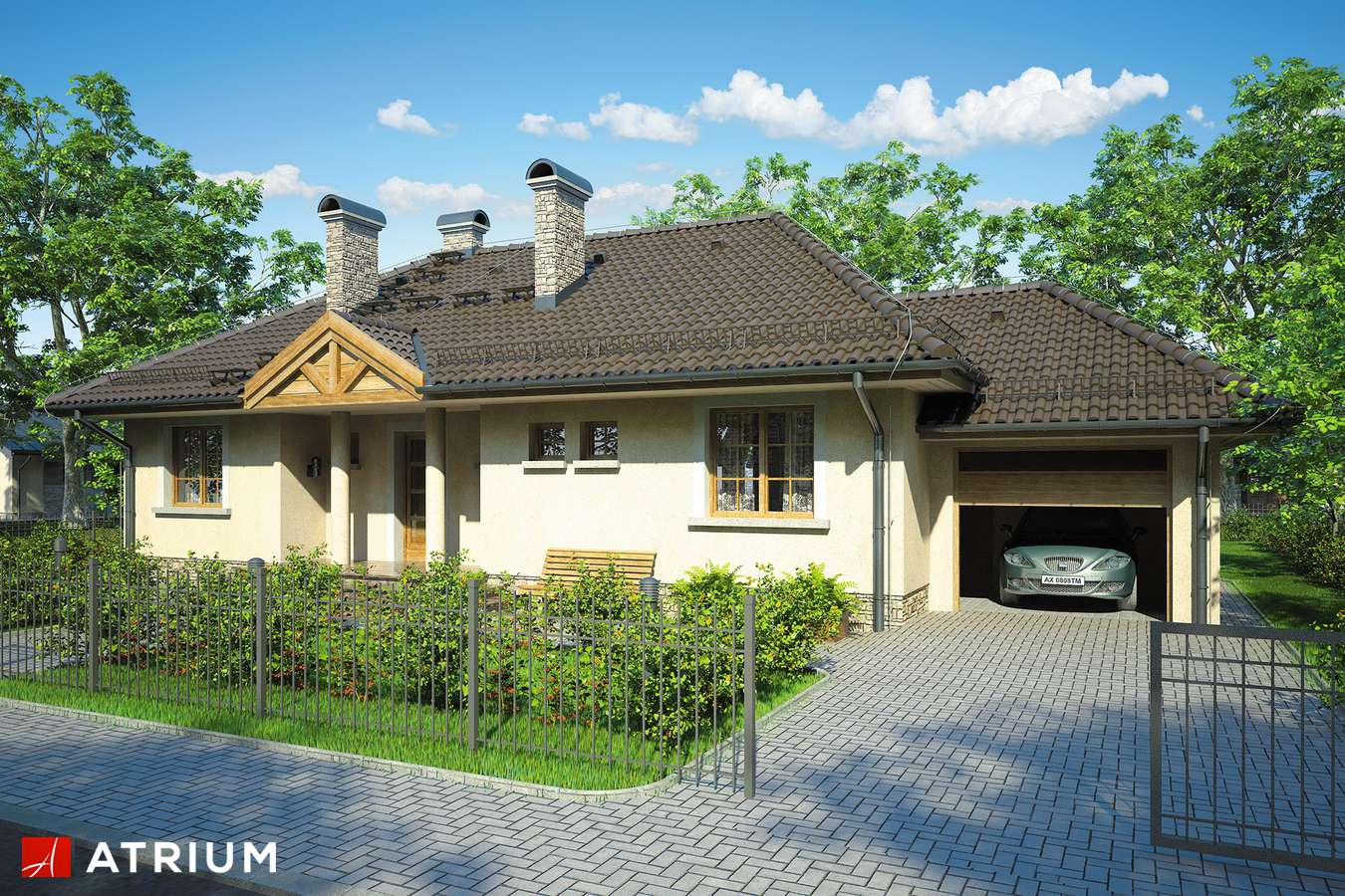 Projekty domów - Projekt domu parterowego ARKA - wizualizacja 1