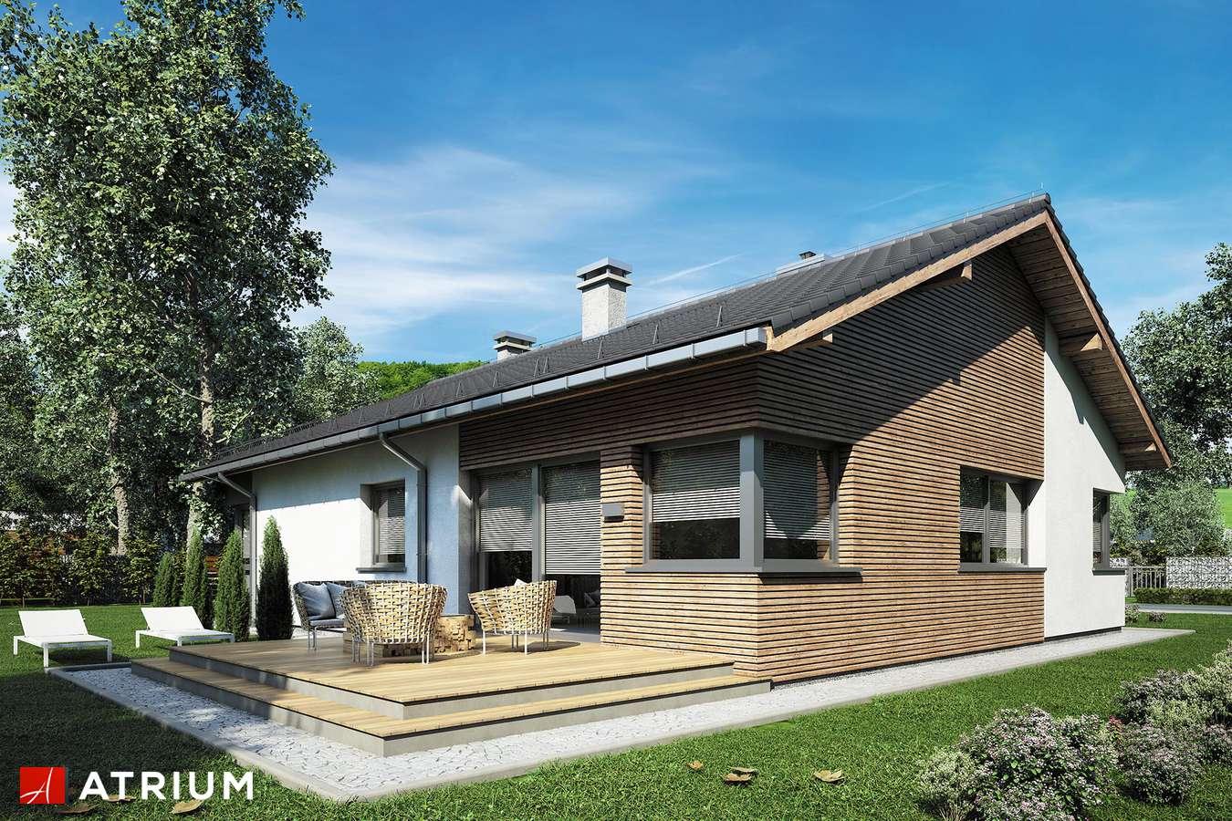 Projekty domów - Projekt domu parterowego MINORKA - wizualizacja 1 - wersja lustrzana