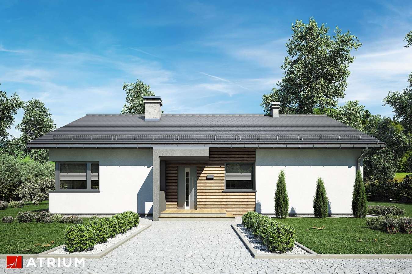 Projekty domów - Projekt domu parterowego MINORKA - wizualizacja 2 - wersja lustrzana