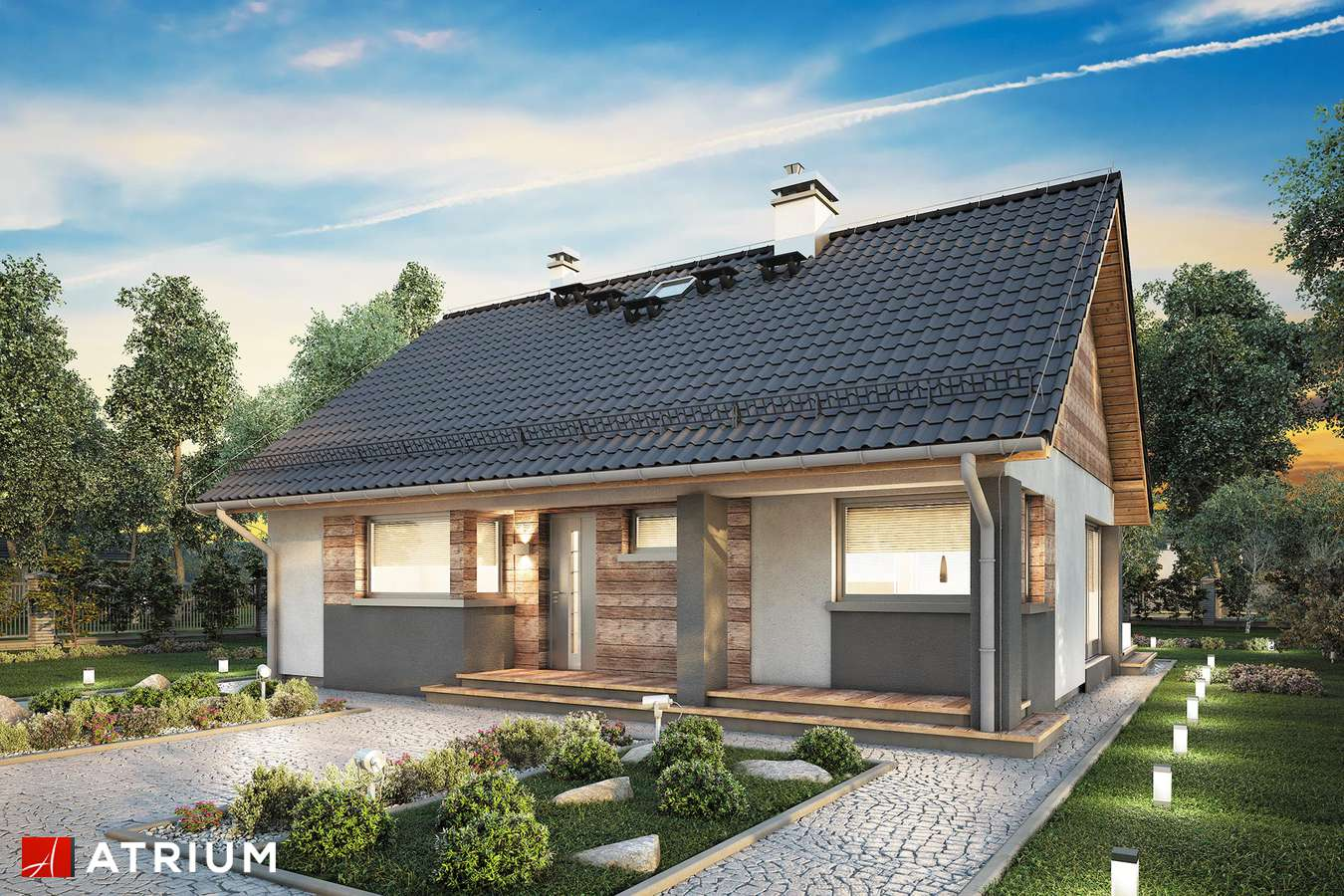 Projekty domów - Projekt domu parterowego RICARDO XVI SZ - wizualizacja 1