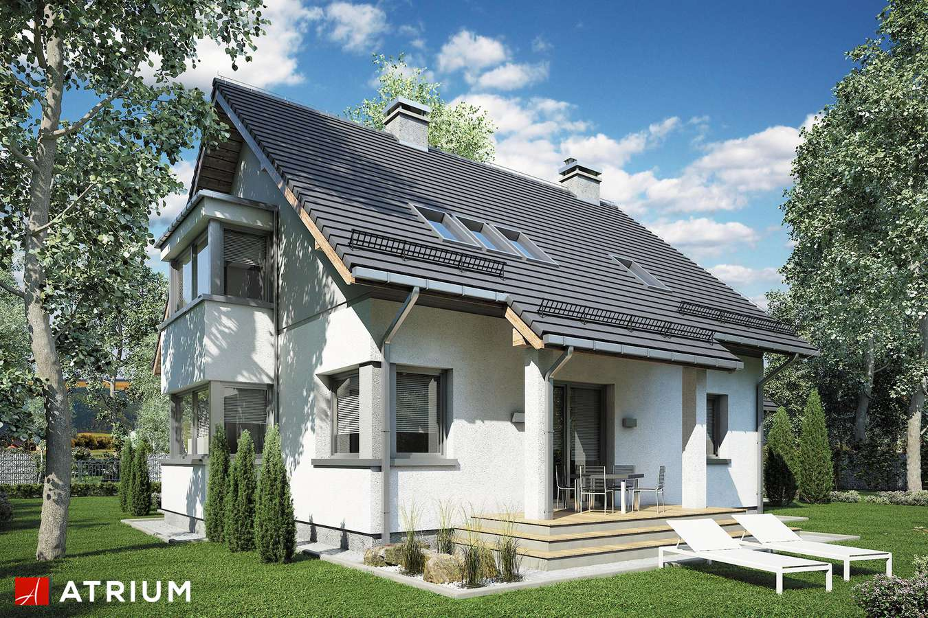 Projekty domów - Projekt domu z poddaszem KOMBI PLUS - wizualizacja 2