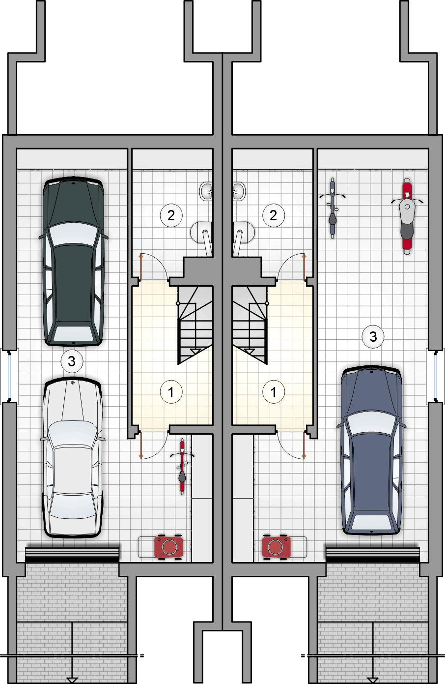 Rzut piwnicy - projekt Tandem III