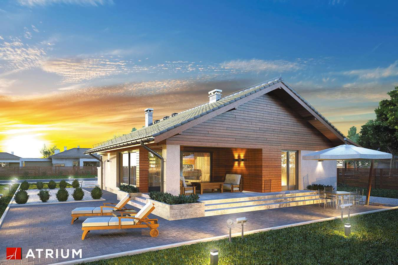 Projekty domów - Projekt domu parterowego PLISZKA IV - wizualizacja 1 - wersja lustrzana