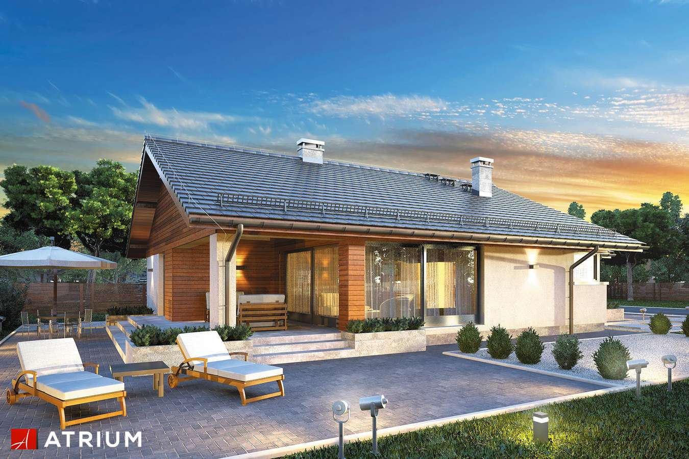 Projekty domów - Projekt domu parterowego PLISZKA IV - wizualizacja 2