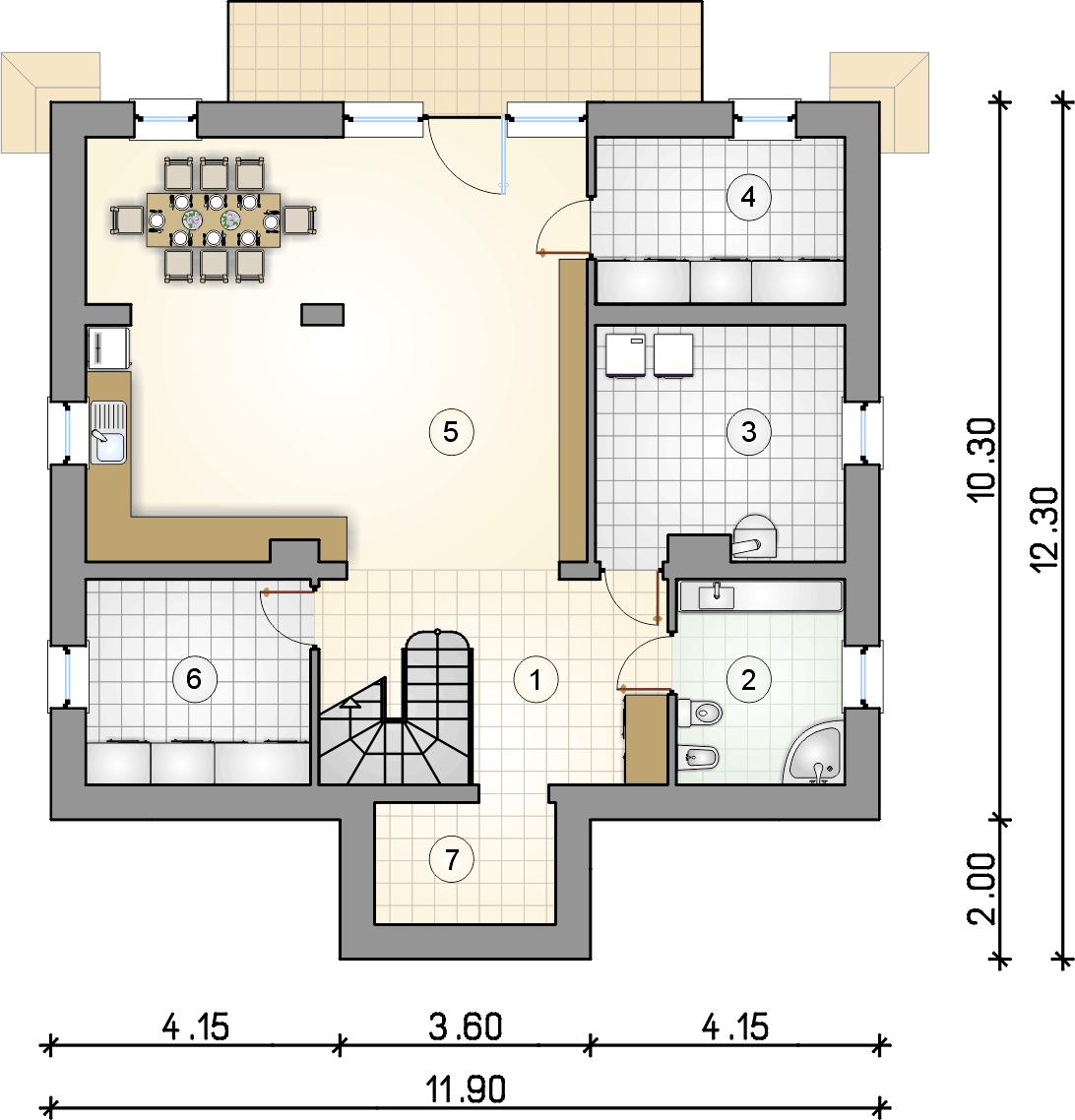rzut piwnic - projekt Marzanka II - wersja lustrzana
