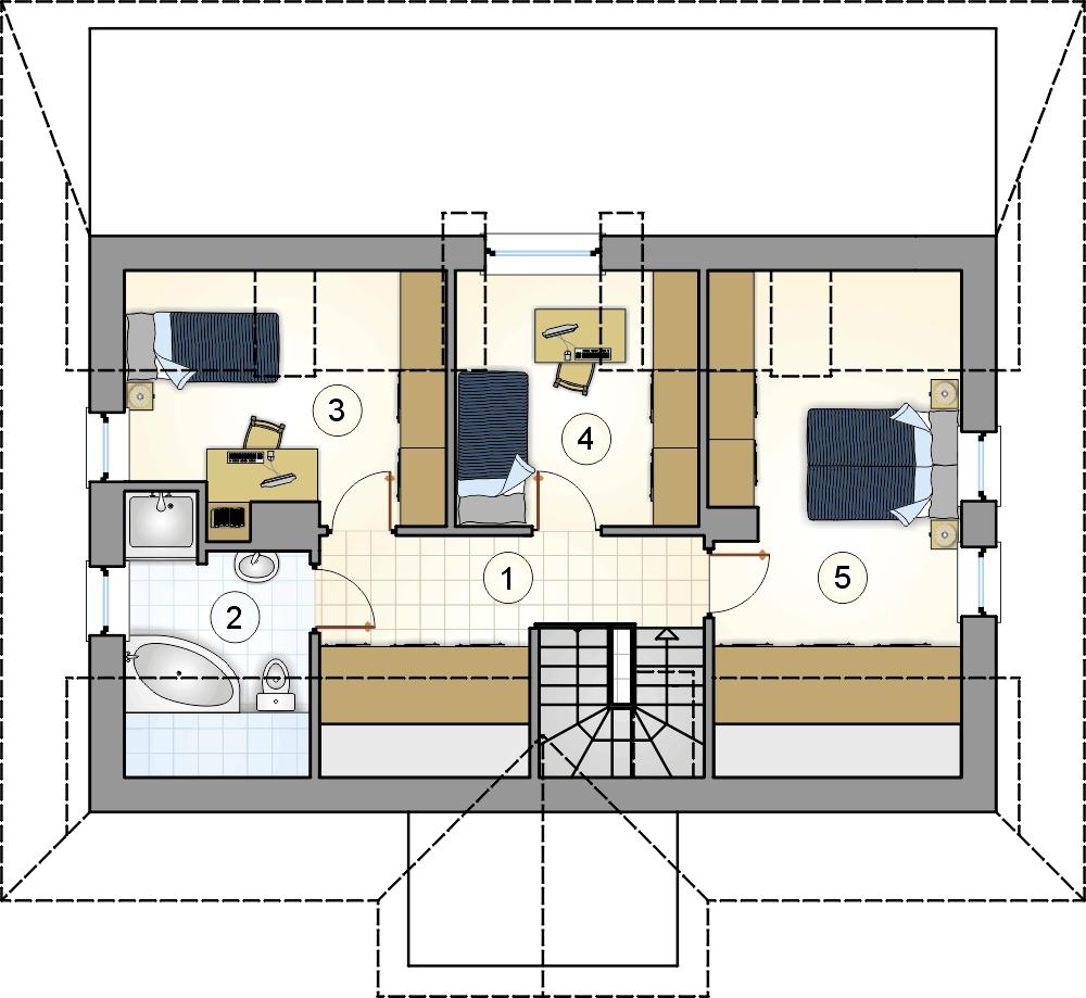rzut poddasza - projekt Marzanka II