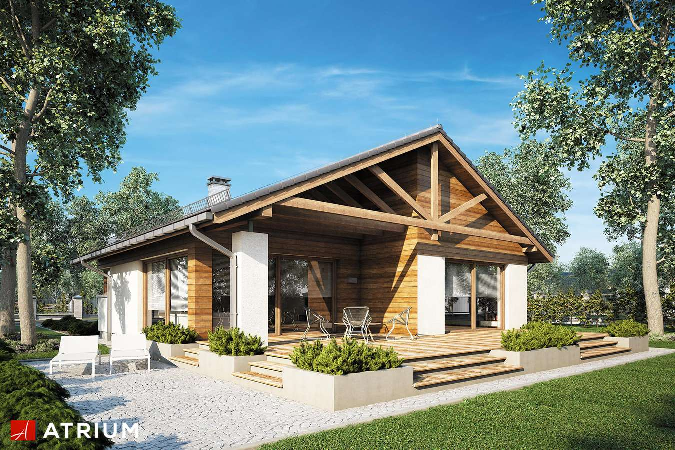 Projekty domów - Projekt domu parterowego PELIKAN III PLUS - wizualizacja 2 - wersja lustrzana