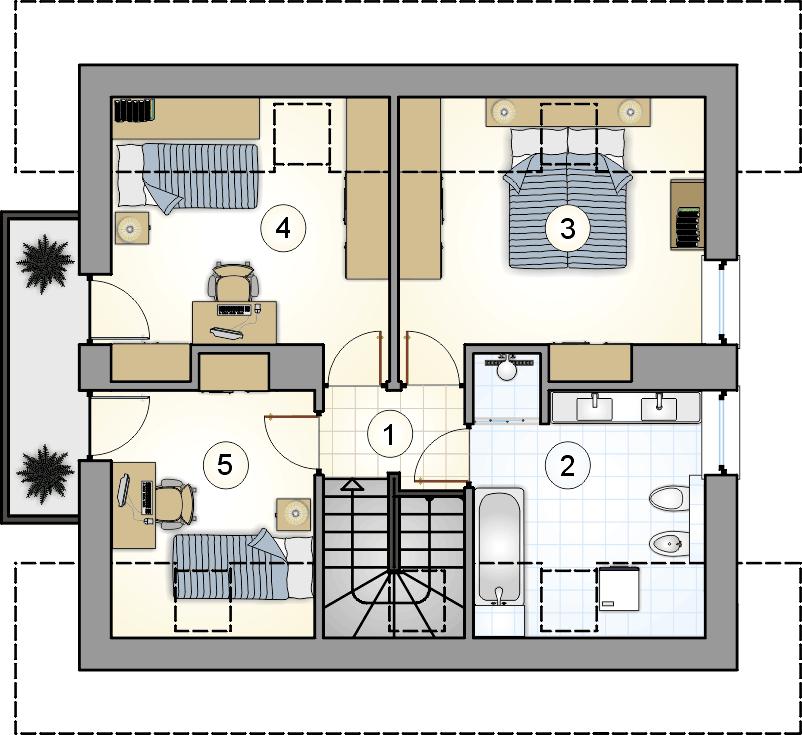 Rzut poddasza - projekt Ada III - wersja lustrzana