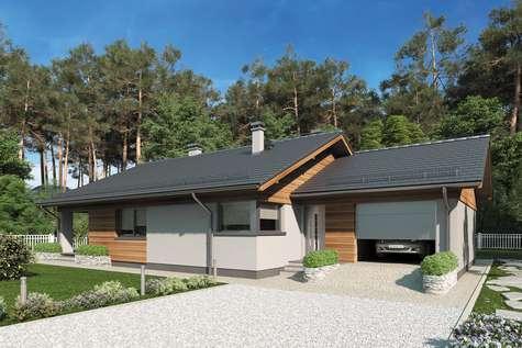 Projekt domu parterowego KOS IV - wizualizacja 1