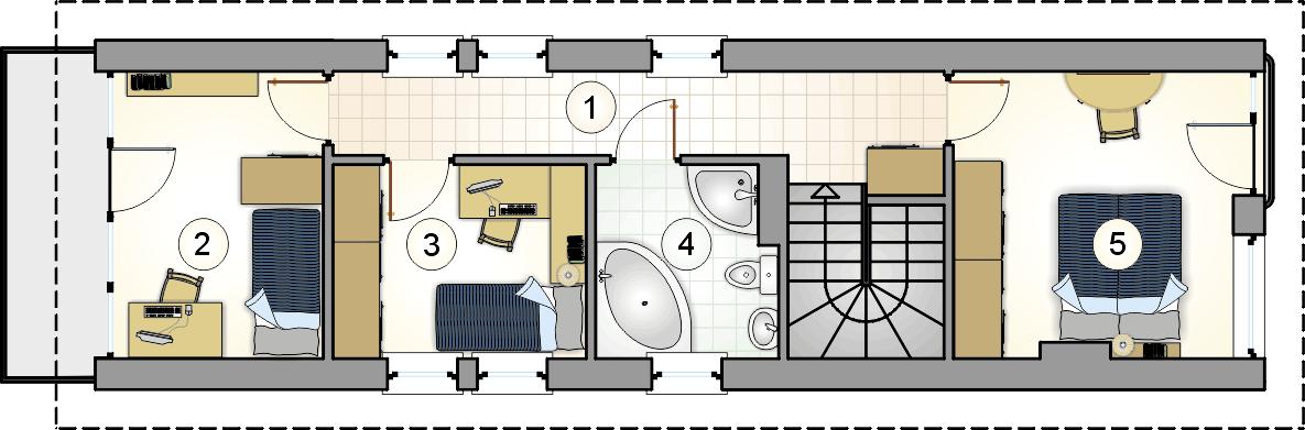 Rzut piętra - projekt Busik - wersja lustrzana