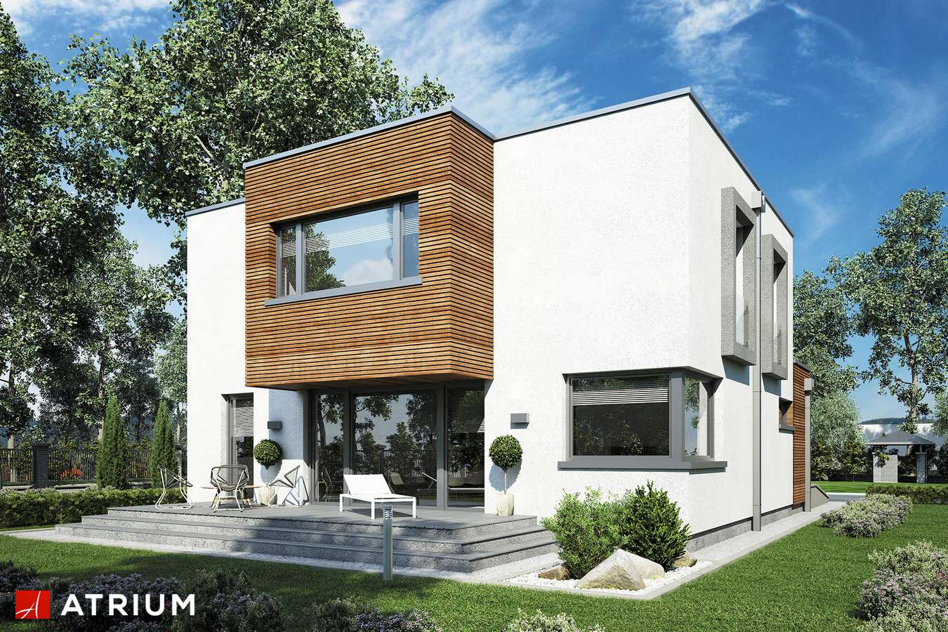 Projekty domów - Projekt domu piętrowego QUBUS III - wizualizacja 2 - wersja lustrzana