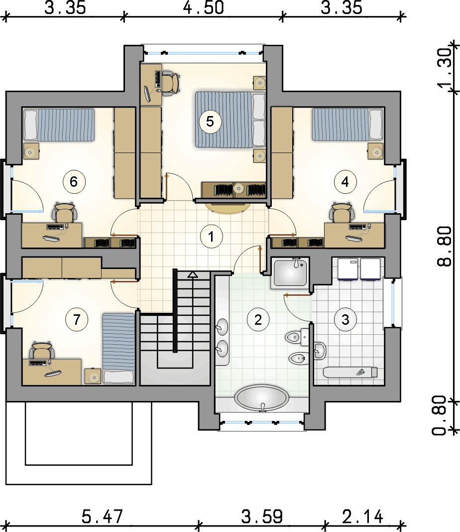 Rzut piętra - projekt Qubus III - wersja lustrzana