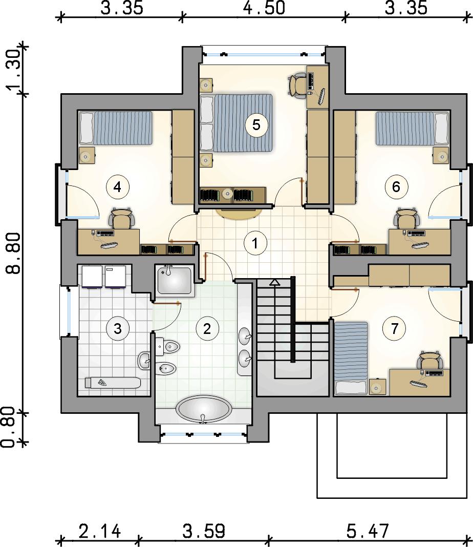 Rzut piętra - projekt Qubus III