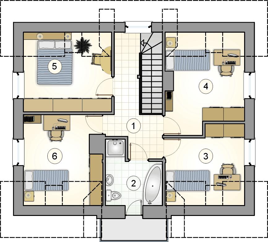 Rzut poddasza - projekt Compact House III - wersja lustrzana