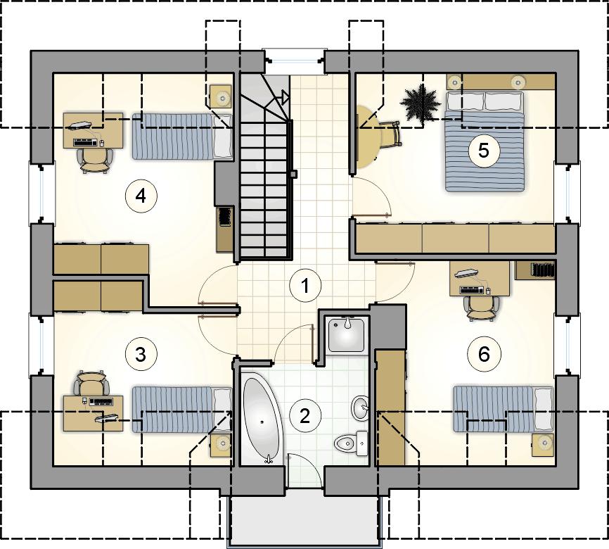 Rzut poddasza - projekt Compact House III