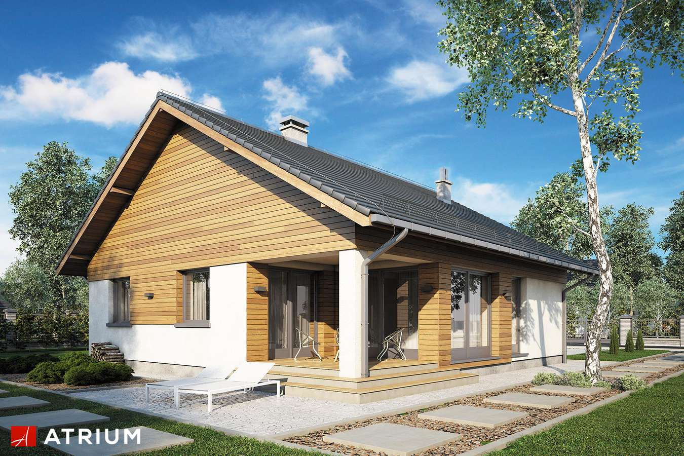 Projekty domów - Projekt domu parterowego BURSZTYN V - wizualizacja 2