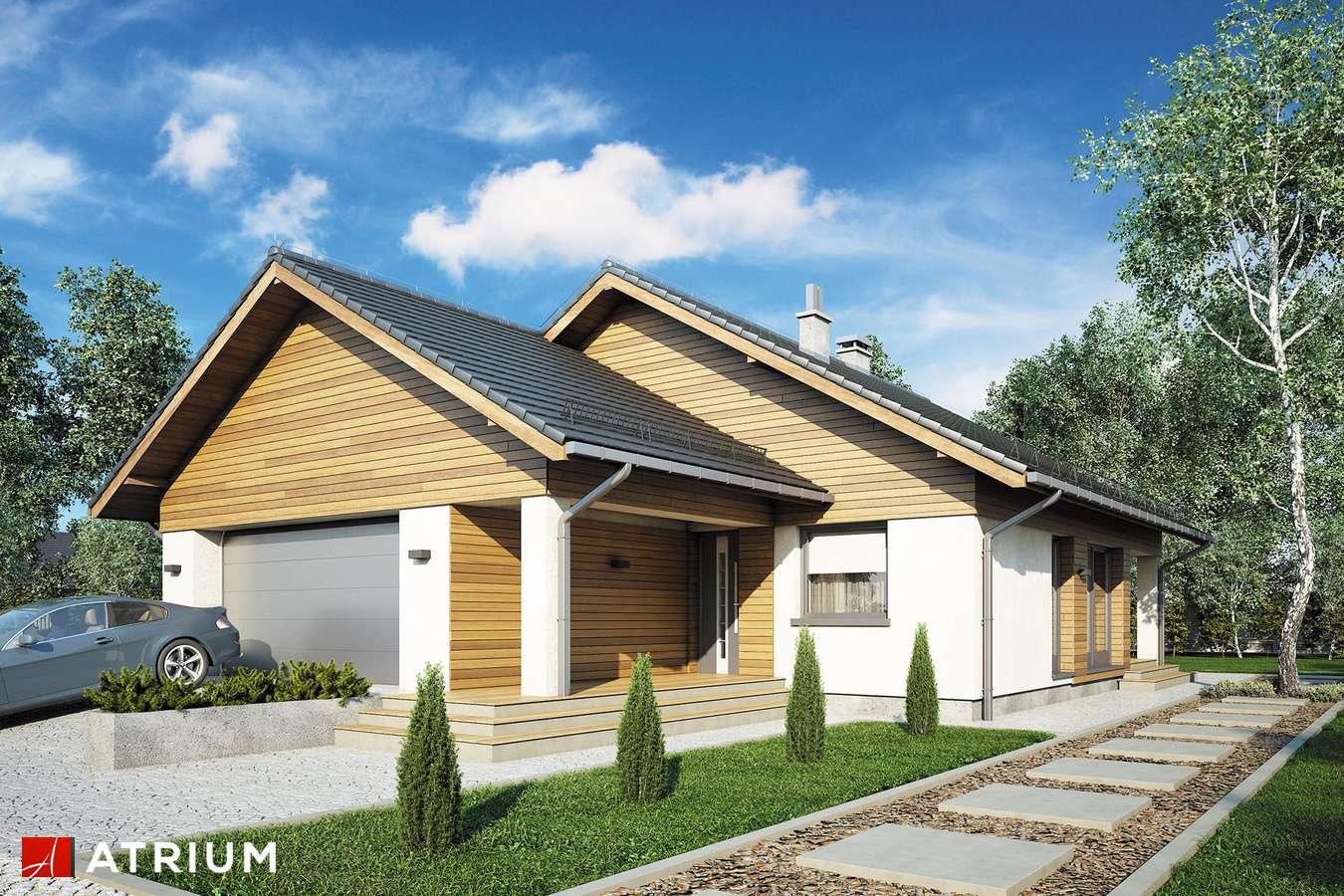 Projekty domów - Projekt domu parterowego BURSZTYN V - wizualizacja 1 - wersja lustrzana