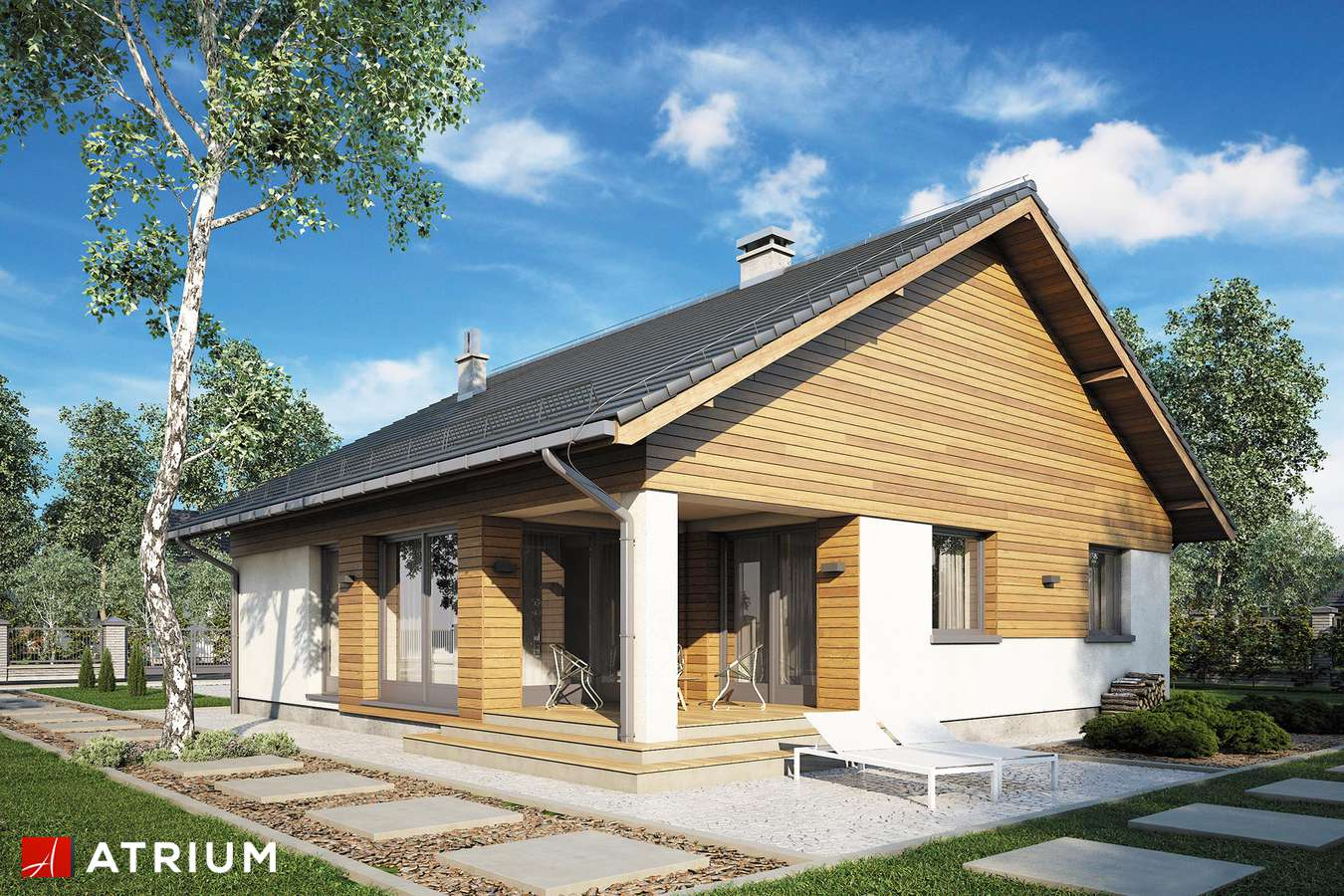 Projekty domów - Projekt domu parterowego BURSZTYN V - wizualizacja 2 - wersja lustrzana