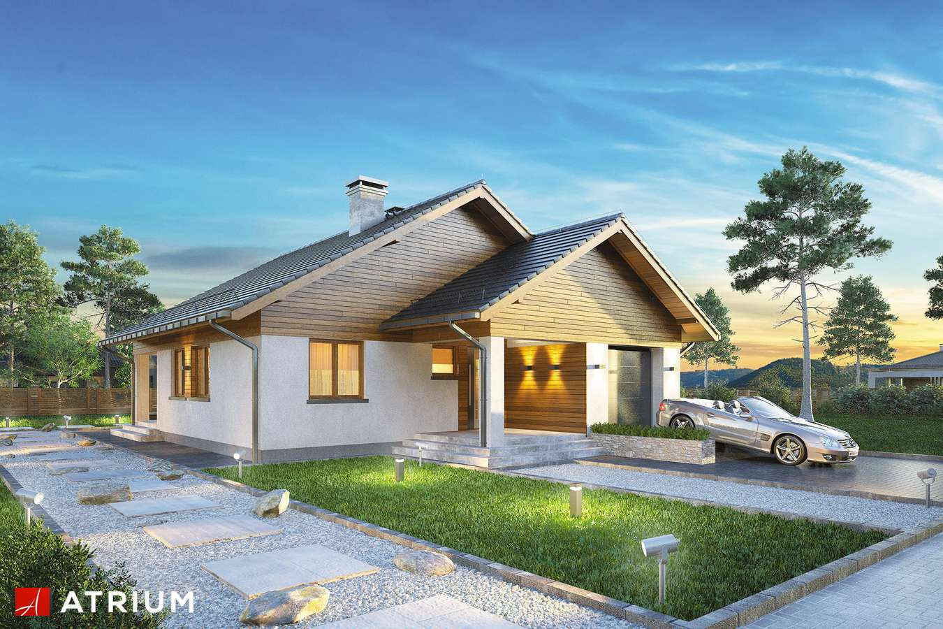 Projekty domów - Projekt domu parterowego BURSZTYN IV - wizualizacja 1