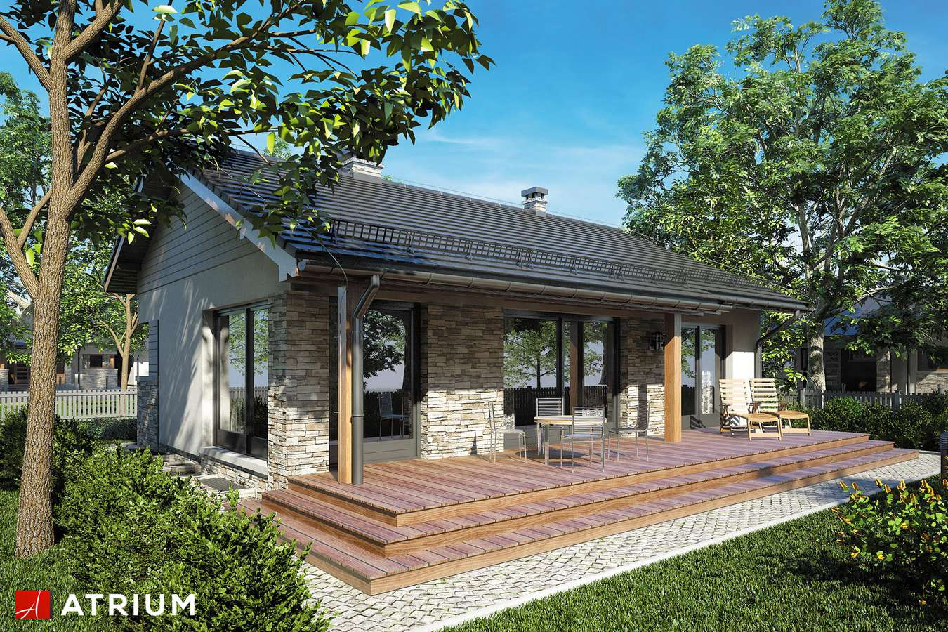 Projekty domów - Projekt domu parterowego RICARDO PLUS - wizualizacja 2