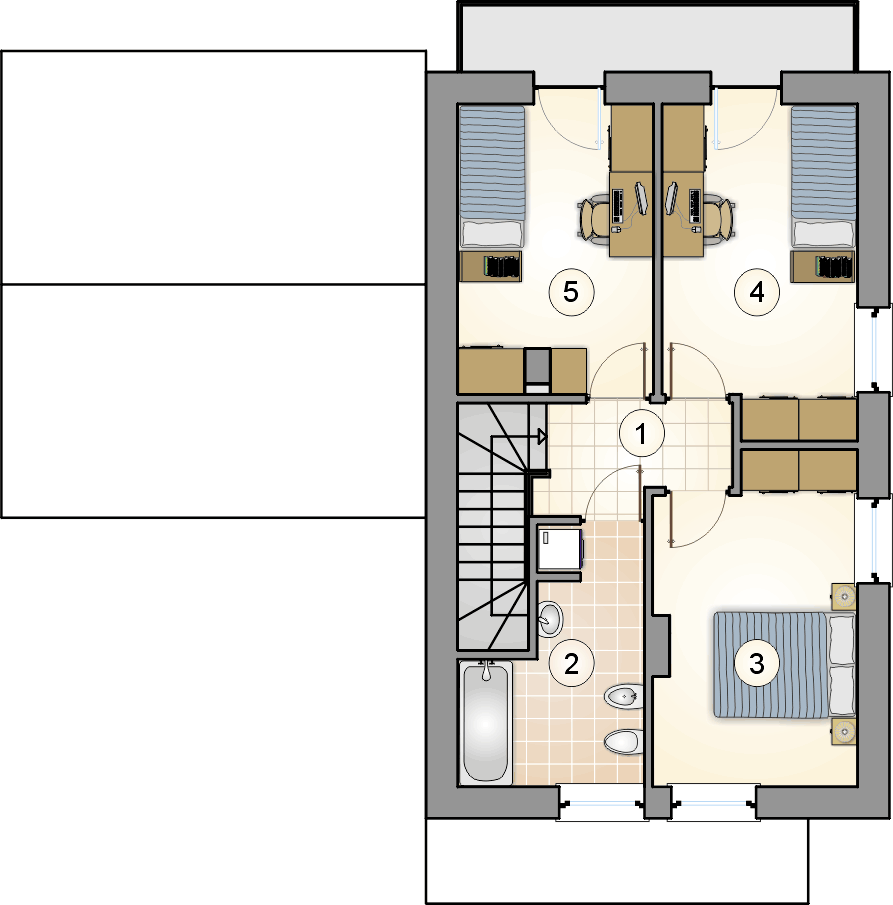 Rzut piętra - projekt Kamyczek III - wersja lustrzana