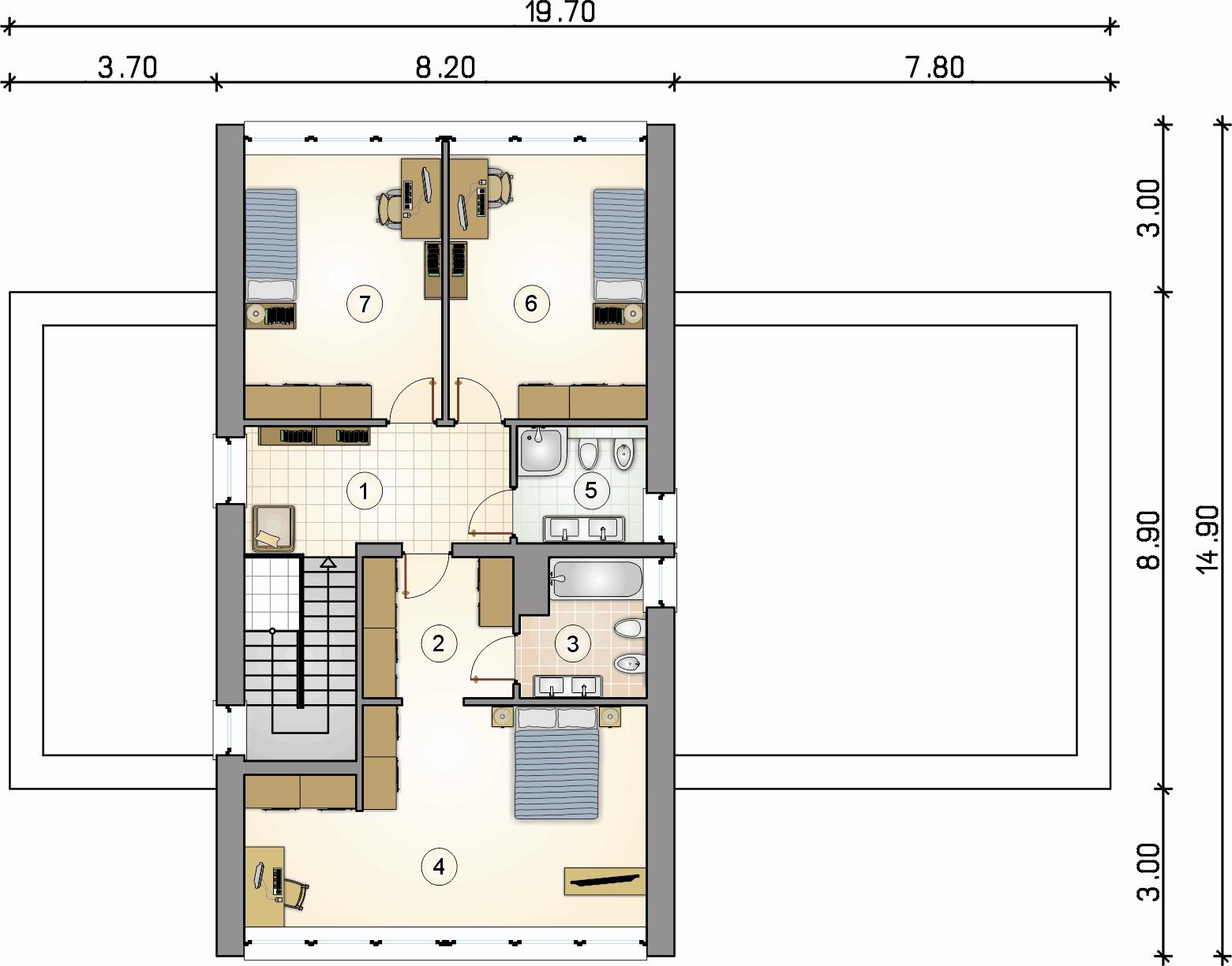Rzut piętra - projekt Malta II - wersja lustrzana