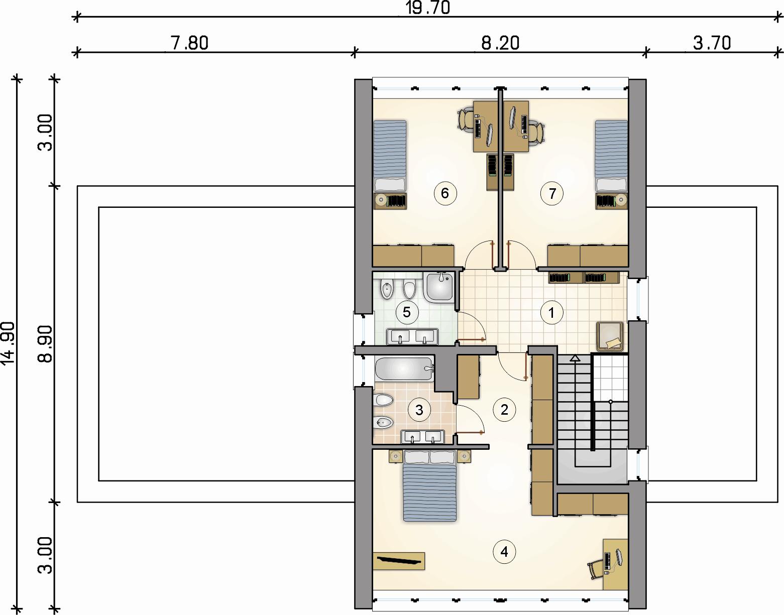 Rzut piętra - projekt Malta II