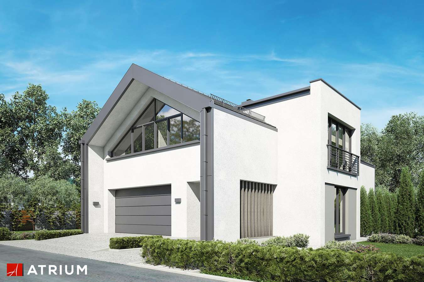Projekty domów - Projekt domu z poddaszem VETRO - wizualizacja 1 - wersja lustrzana