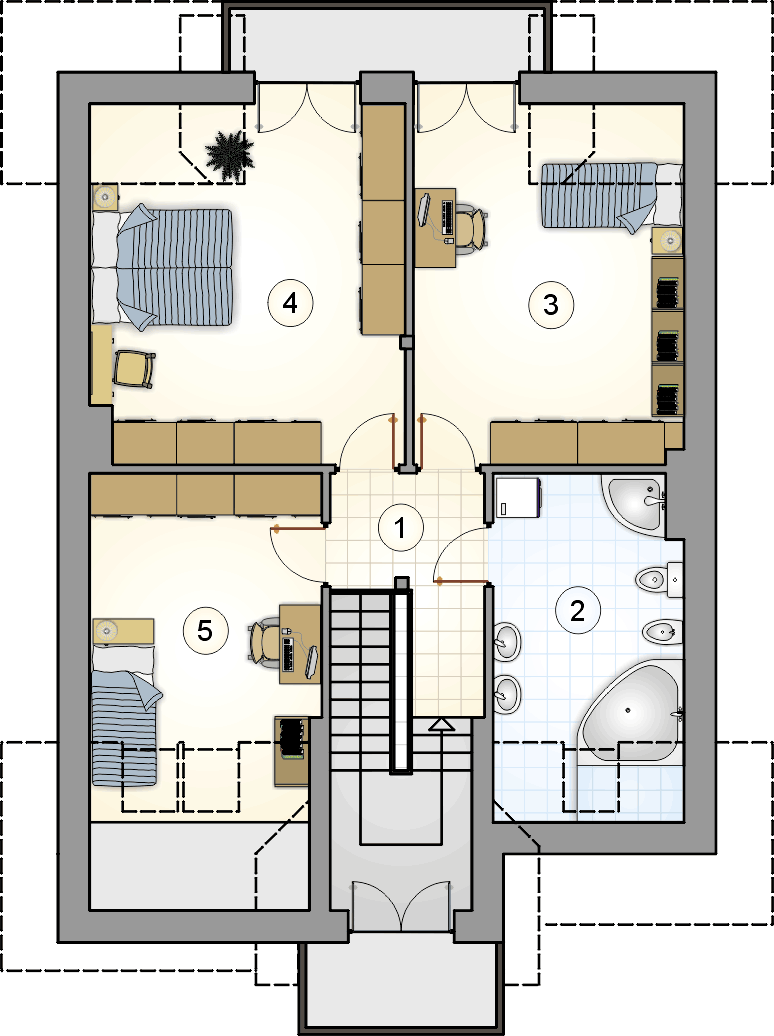 rzut poddasza - projekt Kanon II Bis - wersja lustrzana