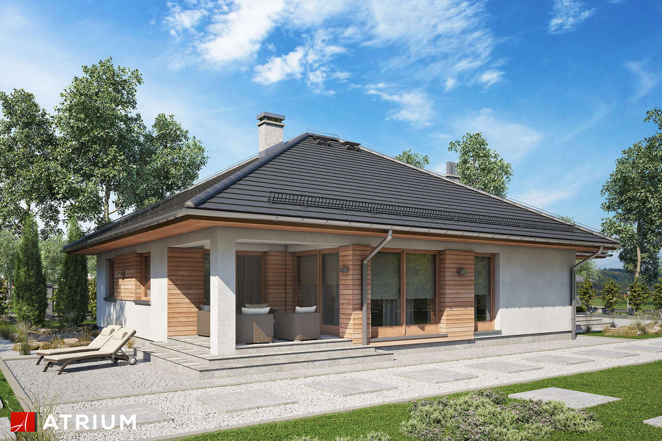 Projekty domów - Projekt domu parterowego BURSZTYN PLUS MAXI - wizualizacja 2