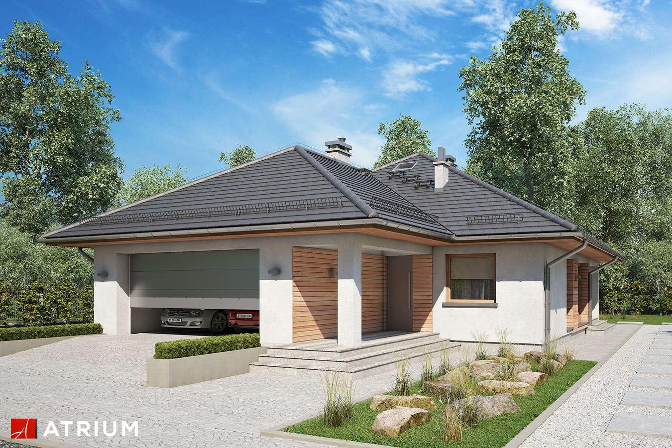 Projekty domów - Projekt domu parterowego BURSZTYN PLUS MAXI - wizualizacja 1 - wersja lustrzana