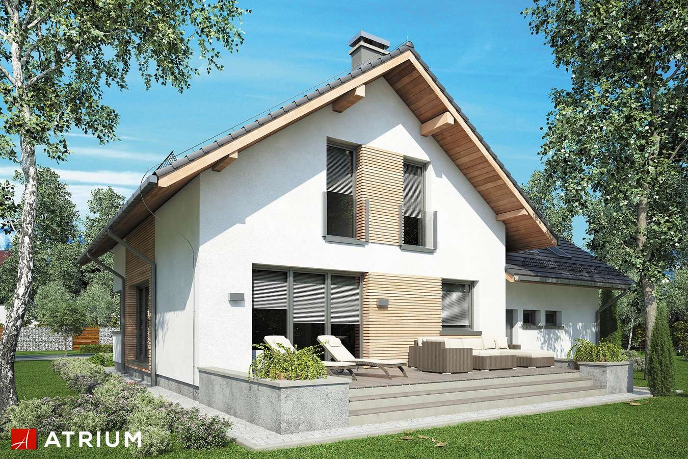Projekty domów - Projekt domu z poddaszem MALBEC II - wizualizacja 2 - wersja lustrzana