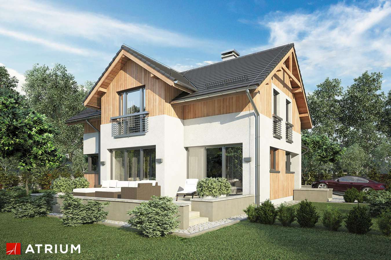 Projekty domów - Projekt domu z poddaszem JUPITER VI BIS - wizualizacja 2