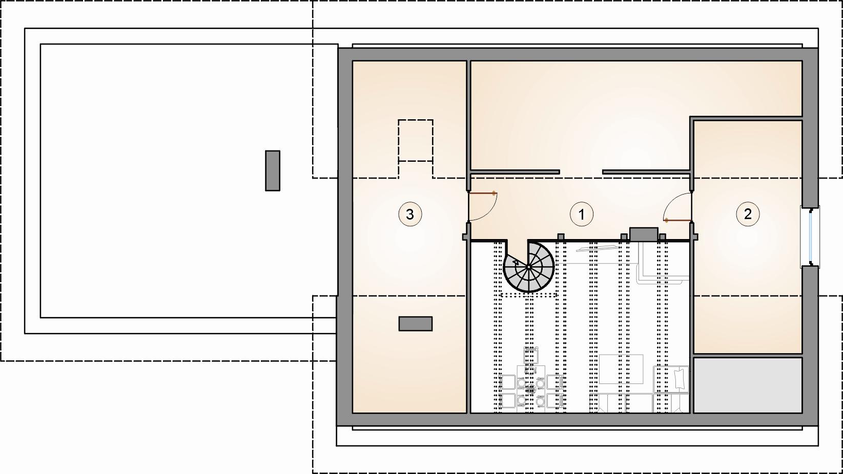 rzut poddasza - projekt Kos VI - wersja lustrzana