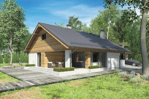 Projekt domu z poddaszem KOS VI - wizualizacja 1
