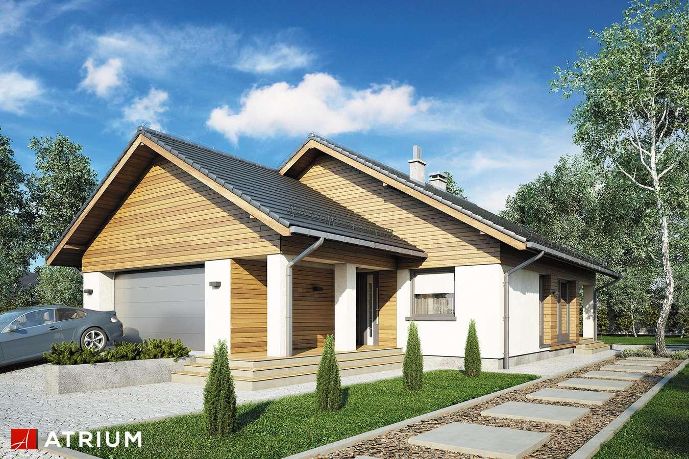 Projekty domów - Projekt domu parterowego BURSZTYN V SZ - wizualizacja 1 - wersja lustrzana