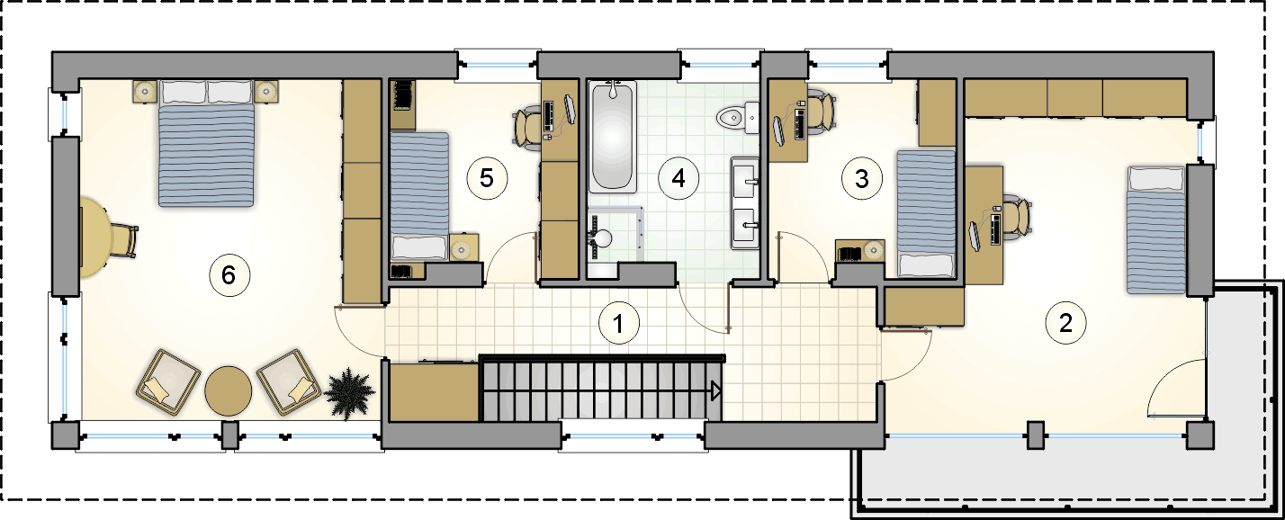 rzut piętra - projekt Orlando - wersja lustrzana