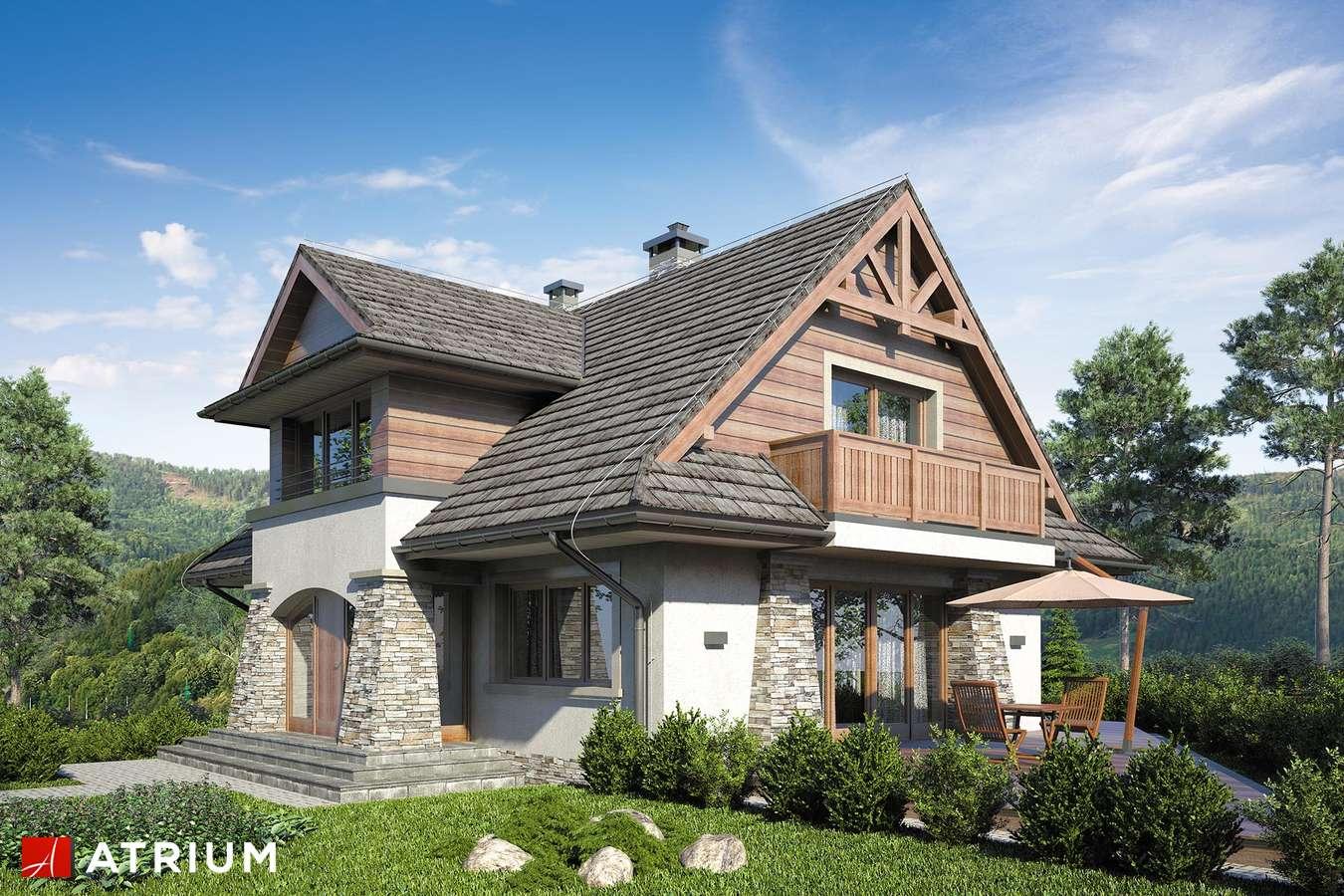 Projekty domów - Projekt domu z poddaszem JAWORZYNA - wizualizacja 1 - wersja lustrzana
