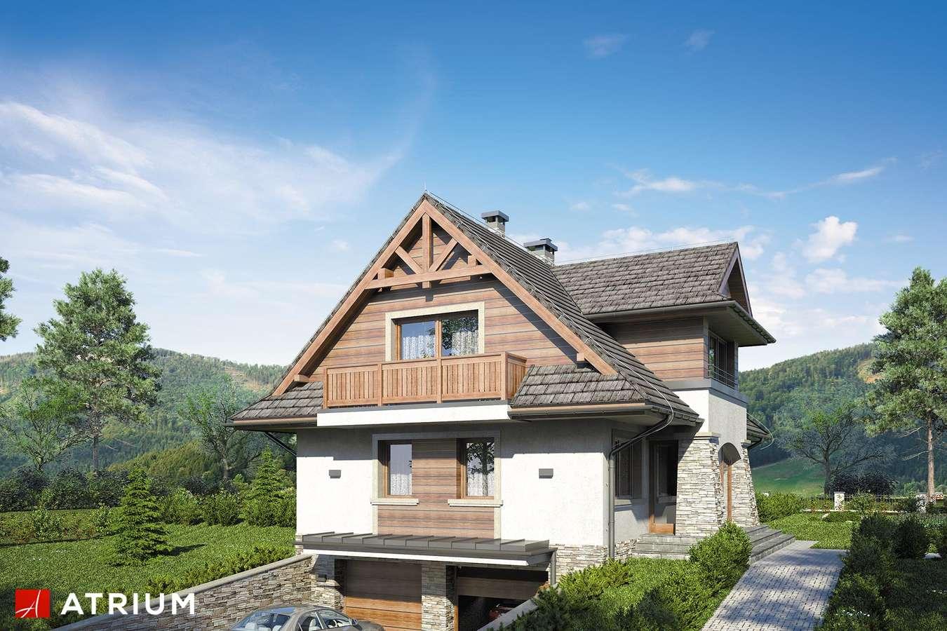 Projekty domów - Projekt domu z poddaszem JAWORZYNA - wizualizacja 2 - wersja lustrzana