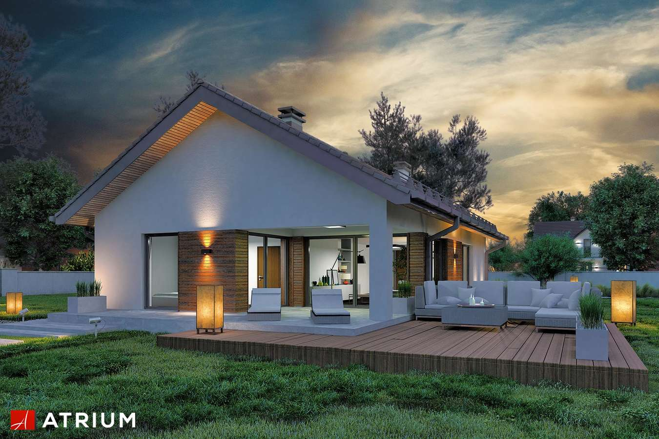 Projekty domów - Projekt domu parterowego SFINKS VIII - wizualizacja 1 - wersja lustrzana