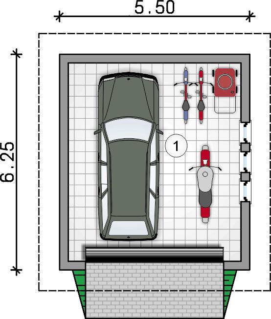 rzut garażu - Garaż Z 45