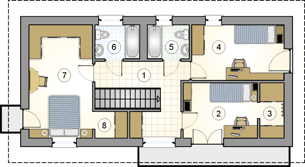 rzut piętra - projekt Forte Bis - wersja lustrzana