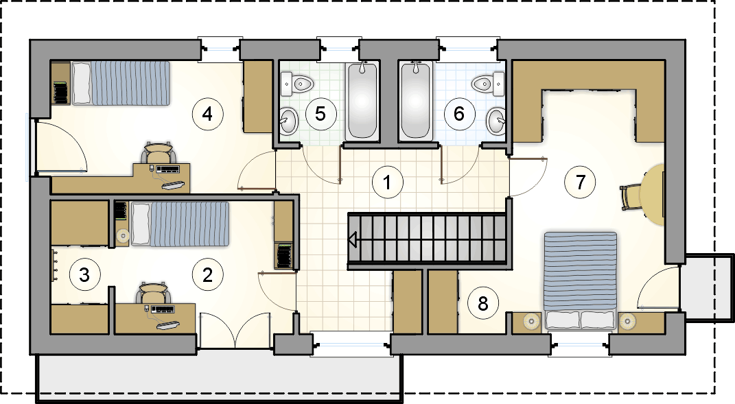 rzut piętra - projekt Forte Bis