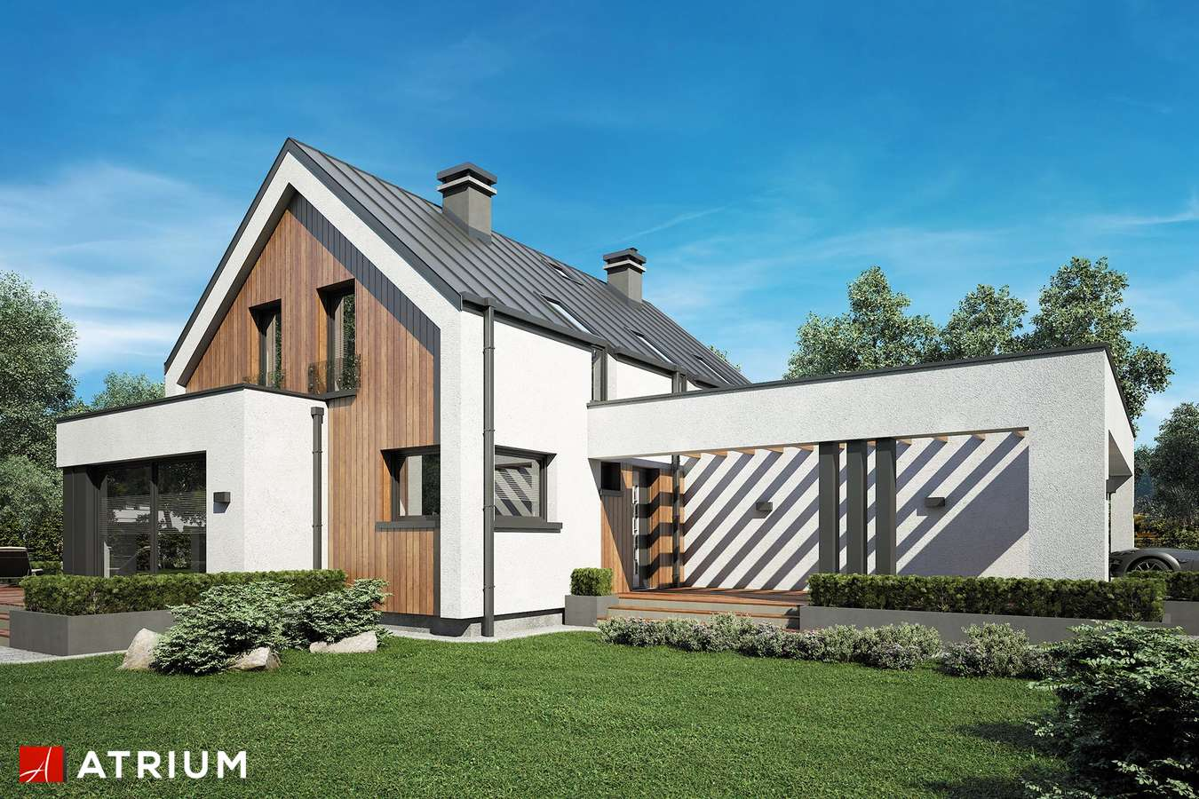 Projekty domów - Projekt domu z poddaszem POLARIS - wizualizacja 1 - wersja lustrzana